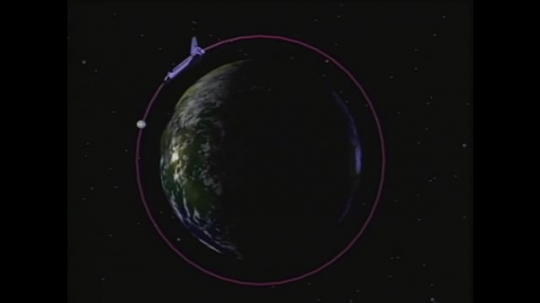 UNITED STATES: 1990s: orbital in space. Animation of space ship jets.
