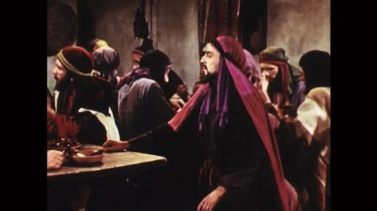 UNITED STATES: 1950s: Judas becomes angry at Jesus. Jesus speaks to Judas and disciples.