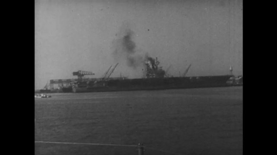 UNITED STATES: 1960s: USS Forrestal ship on water in 1954. Launch of ship