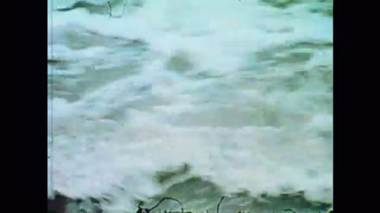 United States: 1970s: fast flowing water in flood. Torrent of water and debris after flood. Trees in flood water