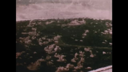 PACIFIC OCEAN: 1940s: Overhead view of Bikini atoll. View across lagoon. Fish in sea. Waves on beach.