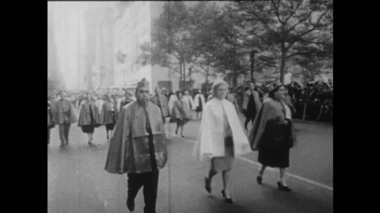 UNITED STATES: 1960S: Columbus Day parade in street. Yankee match at stadium.