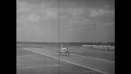 UNITED STATES: 1960S: plane takes off from runway. US Air force plane. Military leave Texas for Cuba