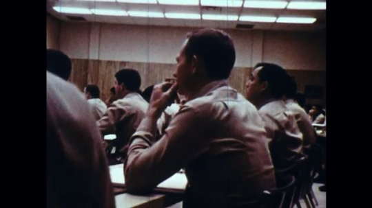 UNITED STATES: 1970s: Officer recruits in psychology lecture.