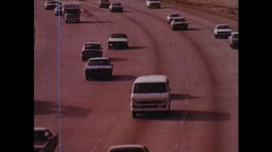 UNITED STATES: 1970s: cars on highway. Material testing