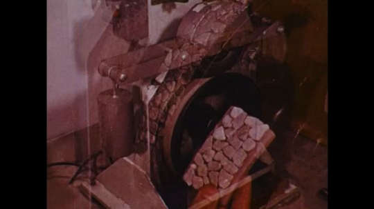 UNITED STATES: 1970s: machine tests wear and tear from surface. Simulated traffic experiment