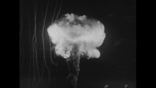 UNITED STATES 1950s: A mushroom cloud forms in the air after an atomic bomb goes off.