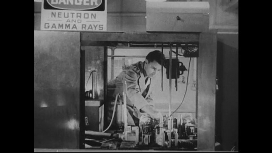 UNITED STATES 1940s-1950s : A scientist works in a nuclear pile.