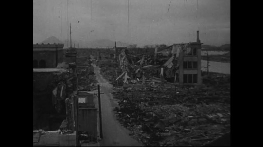 JAPAN 1940s: The prominent buildings in Hiroshima almost totally wrecked.