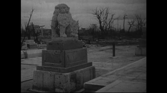 JAPAN 1940s: Surfaces of a statue damaged by the atomic bomb.