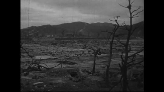 JAPAN 1940s: Damage to Japanese headquarters wipes soldiers and buildings.
