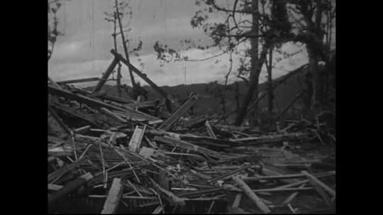 JAPAN 1940s: Framework of castle fell apart as a result of the atomic bomb.
