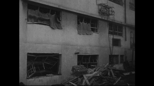 JAPAN 1940s: Sides of Red Cross Hospital blown because of the force of the atomic bomb explosion.