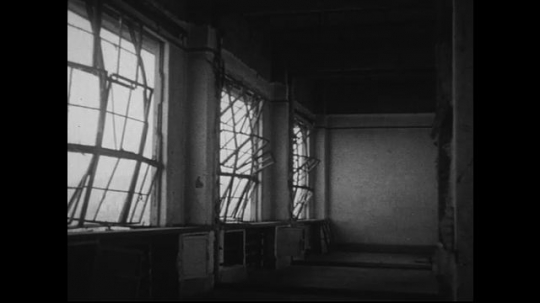 JAPAN 1940s: Walls and window rails  of the Red Cross Hospital are bent due to the atomic bomb explosion.