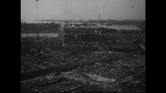 JAPAN 1940s: South of zero point, only one building remains standing.