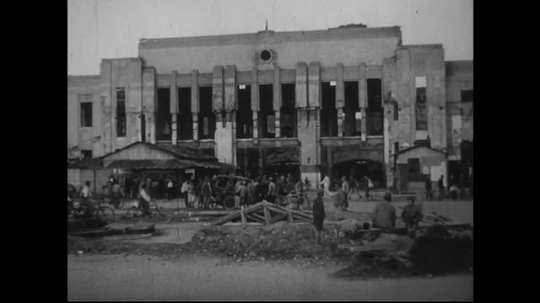 JAPAN 1940s: Damages to a functioning train station a mile and a half from zero point.