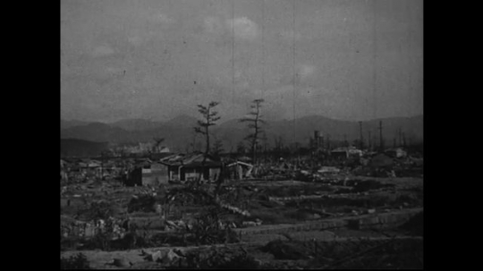 JAPAN 1940s: Temporary homes are constructed in the surrounding areas of Hiroshima.