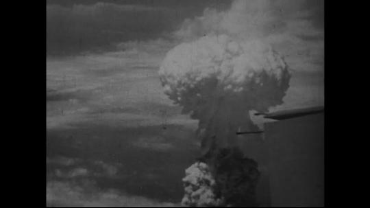JAPAN 1940s: A closer view of the mushroom cloud developing after atomic bomb dropping.