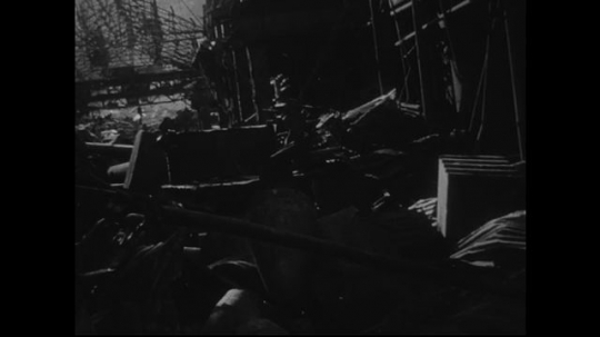 JAPAN 1940s: Damage to equipment in manufacturing plants is severe.