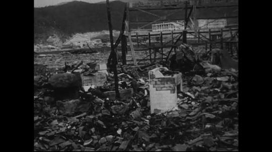 JAPAN 1940s: At zero point, the vicinity is totally damaged.