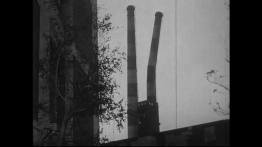JAPAN 1940s: Smoke stacks and prisons near zero almost totally torn down.