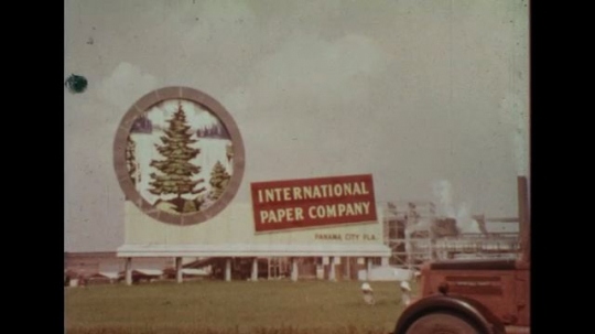 UNITED STATES 1960s: Sign for paper company, logging truck drives past / Views of signs for businesses in Florida.