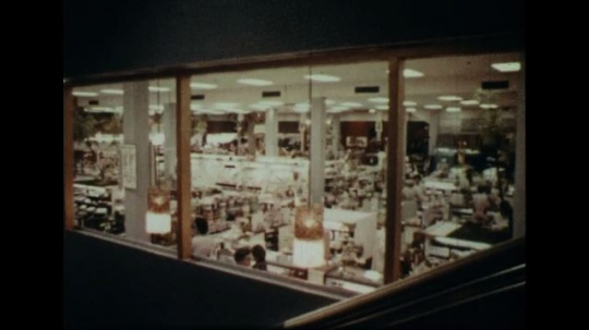 UNITED STATES 1960s: Interior of department store, women pass on escalator / Low angle view of man on telephone pole.