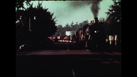UNITED STATES 1950s : A Cole Brothers Circus train blows its horn as it passes by a train station.