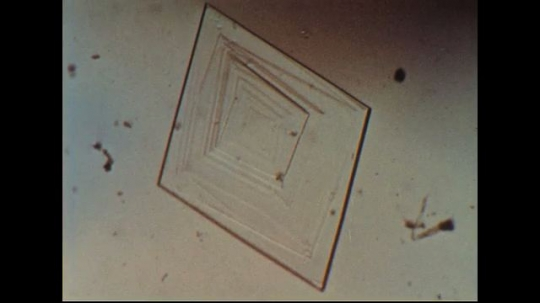 UNITED STATES 1950s: Magnified image of crystal forming.