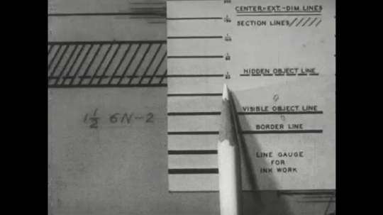 UNITED STATES: 1960s: hand draws lines with triangular ruler.