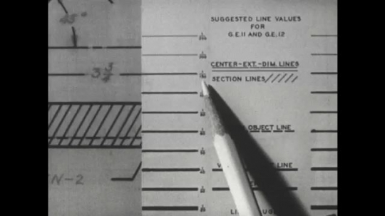 UNITED STATES: 1960s: hand draws line with ruler on paper.