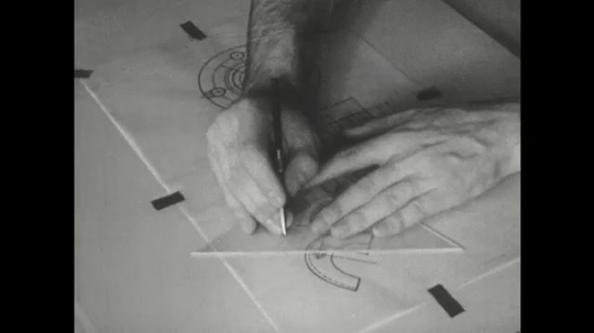 UNITED STATES: 1960s: pencil points to lines on chart. Fingers use triangle to draw lines