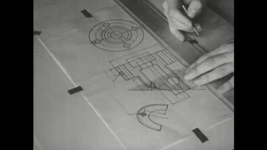 UNITED STATES: 1960s: pencil points to lines on chart. Fingers use triangle to draw lines. Hand uses ruler for line drawing.