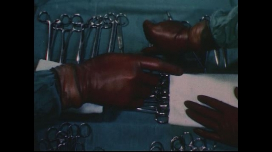 UNITED STATES 1950s: Hand reaches for surgical tool / Hand mixes paint on brush / Hand paints picture / Combined images, hands write, file, type, dial phone.