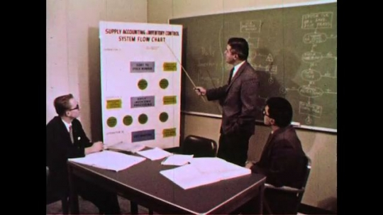 UNITED STATES 1960s: A man proposes a flow chart of a computer to two other men.