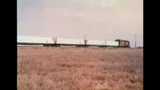 UNITED STATES 1970s - Train moving along tracks.