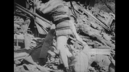 JAPAN: 1943: Relief operations to save people and rebuild after an earthquake hits Japan in 1923.