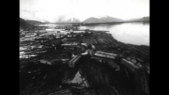 ALASKA 1960s: After an earthquake, tidal waves and shock force Alaska