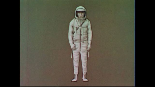 UNITED STATES 1950s:  An illustrated graphic, featuring a white silhouette of an astronaut in a space suit.  Graphics illustrate the suit