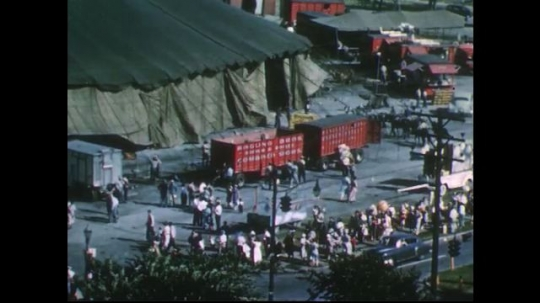UNITED STATES 1950s: Long shots of circus, visitors.