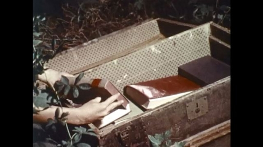 UNITED STATES 1970s: Close up of books in trunk, boy looks at books / Boy next to trunk.