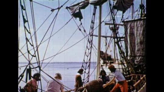 UNITED STATES 1600s: Views of colonists loading supplies on ships.
