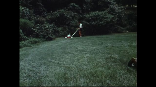 UNITED STATES 1970s: Man and woman mow lawn / Zoom out of group of lawn mowers.