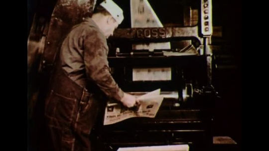UNITED STATES 1950s: Newspapers are printed as, electricity is made, water is pumped, and telephone calls are routed.