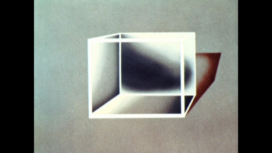 UNITED STATES: 1960s: animation of objects inside cube.
