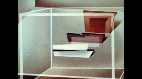 UNITED STATES: 1960s: animation of objects inside cube. Animation of distance and perspective of boats.
