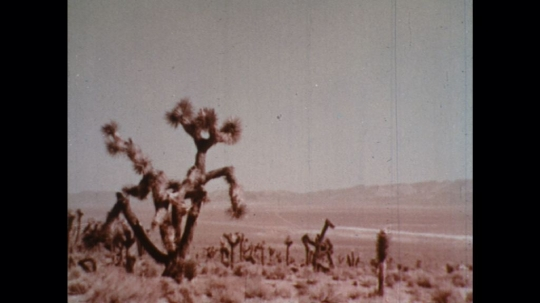 UNITED STATES: 1960s: nuclear explosion in desert. Mushroom cloud in sky.