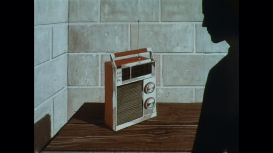 UNITED STATES: 1960s: drawing of man listening to radio.