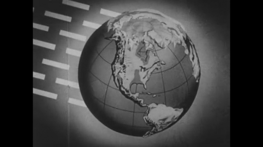 UNITED STATES: 1950s: As rays hit the earth from an angle, the movement of wind is demonstrated.