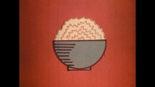 UNITED STATES: 1970s: cartoon of food in bowls. Question mark animation. Animation of cups. Animated dollar sign